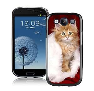 Customized Portfolio Christmas Cat On White Fur Black TPU Phone Case For Samsung Galaxy S3,Samsung I9300 Cases