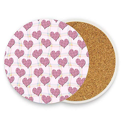- CuteToiletLidABC Rainbow flag tartan hearts Coaster for Drinks,Wallpaper Ceramic Round Cork Table Cup Mat Coaster Pack Of 1