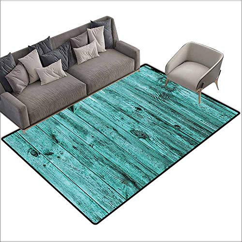(Anti-Slip Coffee Table Floor Mats Turquoise Decor,Wall of Turquoise Wooden Texture Background Antique Timber Furniture Artful Print,Teal 60