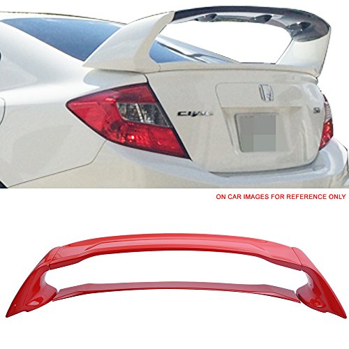 Pre-painted Trunk Spoiler Fits 2012-2015 Honda Civic | Painted #R513 Rallye Red ABS Car Exterior Rear Spoiler Wing Tail Roof Top Lid other color available by IKON MOTORSPORTS | 2013