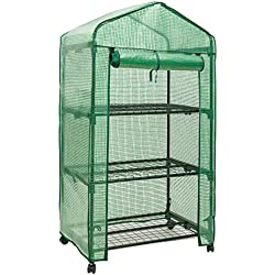 "DOEWORKS 3 Tier Portable Plant Greenhouse with PE Cover, Indoor Outdoor Garden House with Casters, 27.6""x 18.9""x 52"""