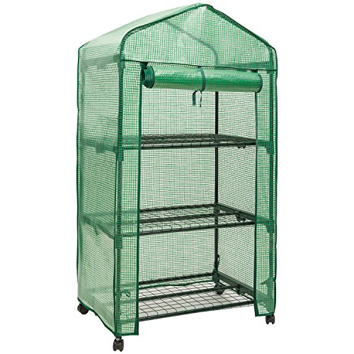 DOEWORKS 3 Tier Portable Plant Greenhouse with PE Cover, Indoor Outdoor Garden House with Casters, 27.6''x 18.9''x 52'' by DOEWORKS