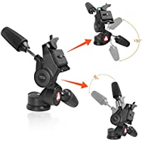 Aluminum Alloy Pan and Tilt Head Tripod,KINGJOY KH-6730 Camera Tripod Tilt with 1/4-Inch Threaded Quick Release Plate for Canon Nikon Sony DSLR Camera Tripods and Monopod