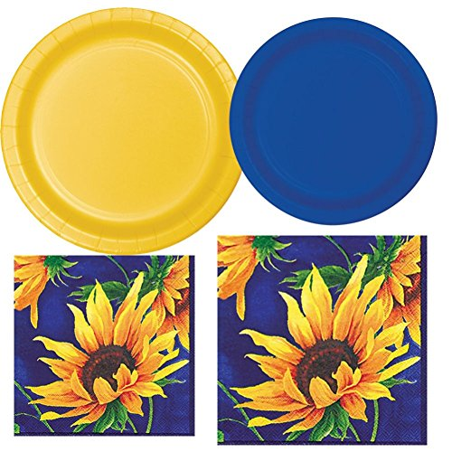 Stunning Sunflower Plate & Napkin Bundle for 20 guests with Bonus Party Planning Checklist, 5 items