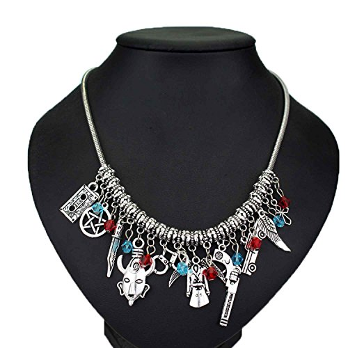Movie And Tv Themed Costume Ideas - Supernatural TV series Themed Charm Necklace Jewelry - Castiel's Wings, Chevy Impala, Colt revolver for her