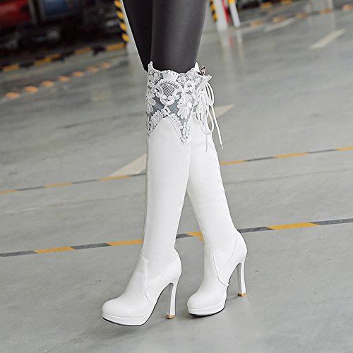 Carolbar Womens Lace Sexy Cosplay Party High Heel Over The Knee Boots White rkkwE6