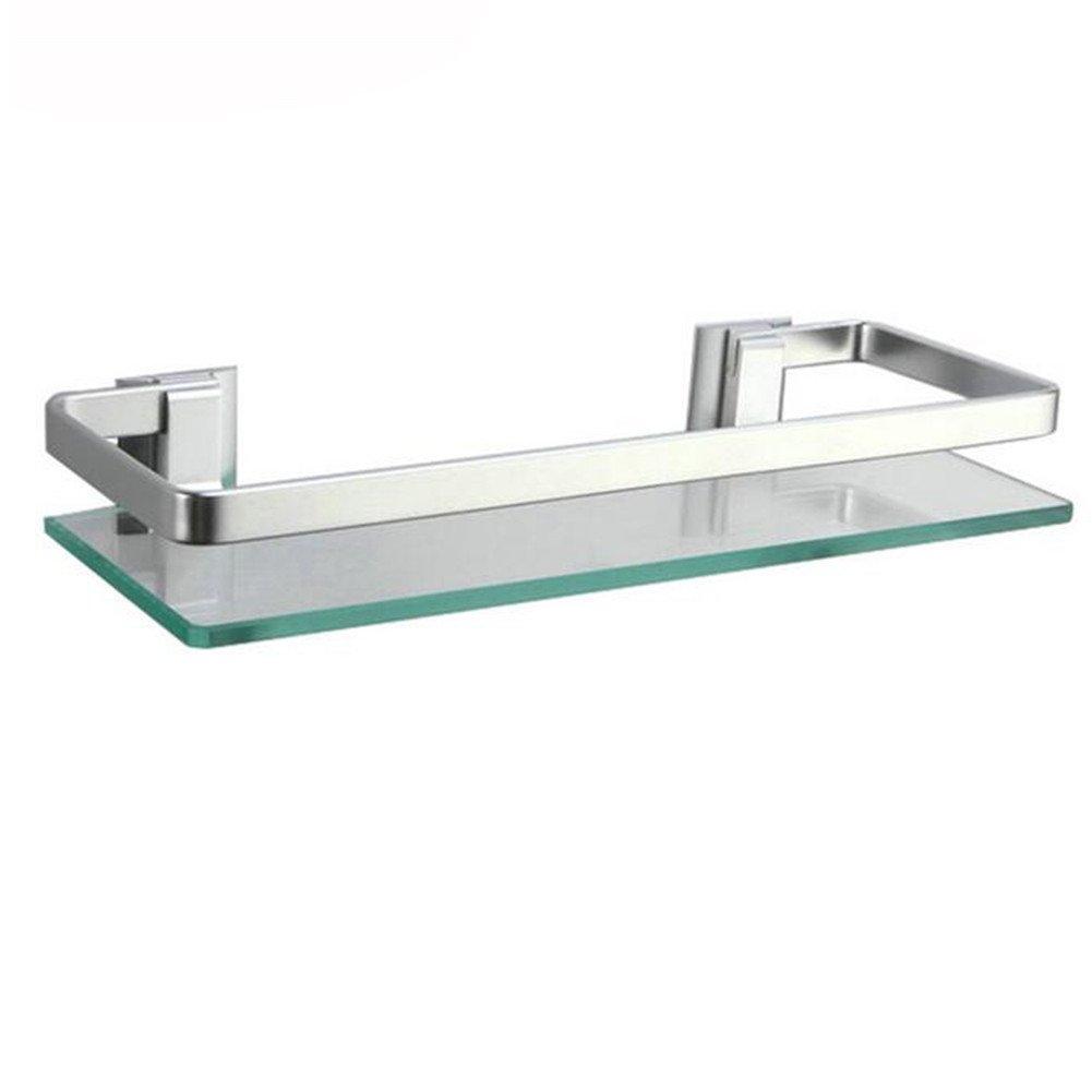 1 Tier Bathroom Shelves, HomeYoo Thick Tempered Glass Aluminum Wall Mounted Rectangular Shower Caddy Bathroom Shelf Rack Kitchen Storage Shelf (1 Tier)