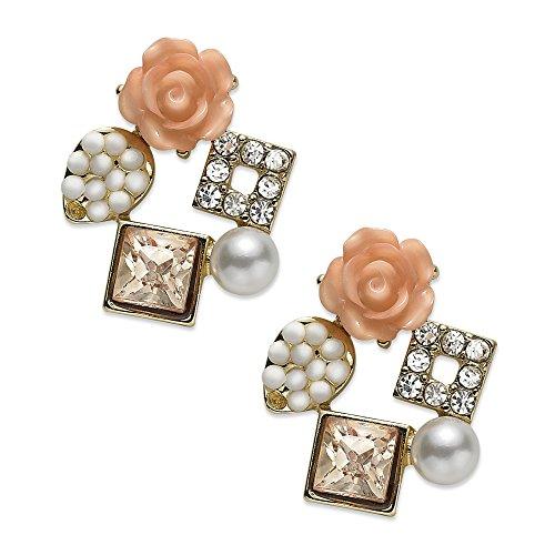 American Rag Earrings, Gold-Tone Simulated Pearl Misty Rose Cluster Stud Earrings