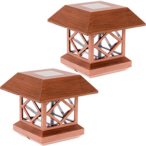 Summit Outdoor Three Light - GreenLighting Outdoor Summit Solar Post Cap Light for 4x4 Wood Posts 2 Pack (Brushed Copper)