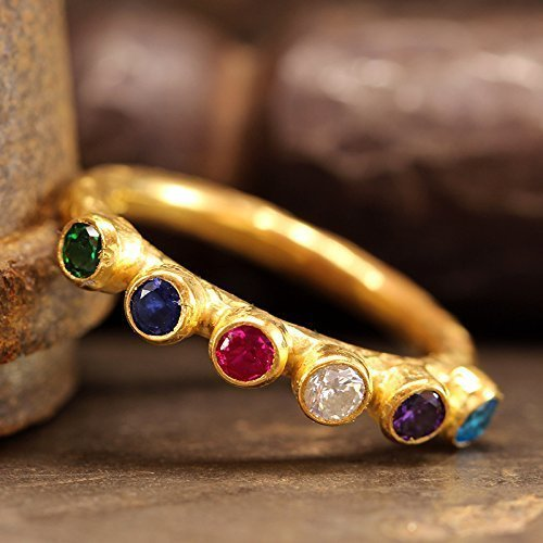 Multicolor Cubic Zirconia Ring 925 Sterling Silver 24K Yellow Gold Vermeil Stacking Hammered Handcrafted Stackable Band Ring