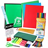 DilaBee Back to School Supplies Kit for First to Fifth Grade Kids: Complete Classroom Supply Bundle - Set of Elementary School Essentials - Assorted Bright Colors