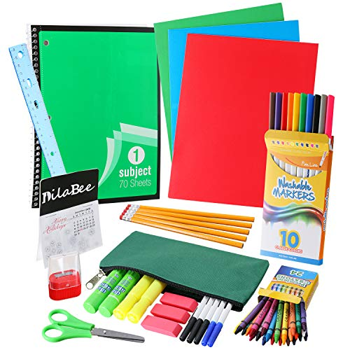 DilaBee Back to School Supplies Kit for First to Fifth Grade Kids: Complete Classroom Supply Bundle - Set of Elementary School Essentials - Assorted Bright (School Package)