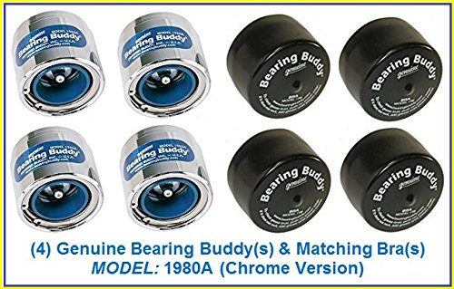 (Bearing Buddy (4) 1.980 Boat Trailer Genuine CHROME with Protective Bra & Auto Check 1980A 42202 (2 Pairs))