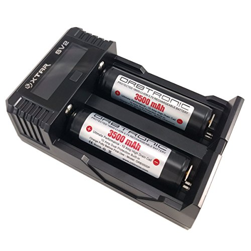 Two 3500mAh 18650 Protected Orbtronic (Panasonic Inside) Li-ion Rechargeable 3.7V Batteries & Fast 2 Amp Battery Charger Charging KIT Updated