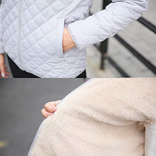 Outerwear Warm Jacket Hooded Quilted Womens Down Fleece Coat Slim Grey ZEVONDA Outdoor Thicken Jacket qCHZnwxx57