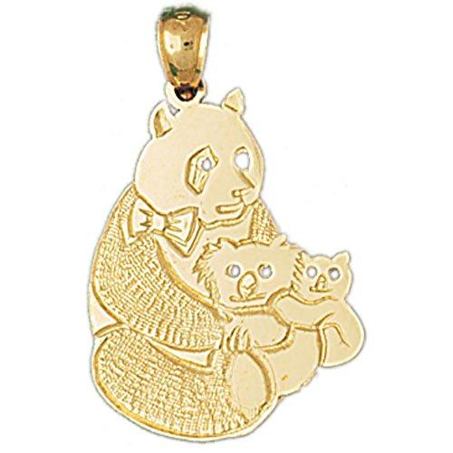 14K Yellow Gold Panda Bear Pendant - 29 mm -