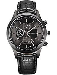 Men's Watches with Leather Strap Business Analog Black Watch for Men