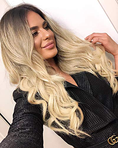 AISI QUEENS Long Wavy Blonde Wig for Women Ombre Blonde Curly Wigs Middle Part Heat Resistant Fiber Synthetic Wig for…