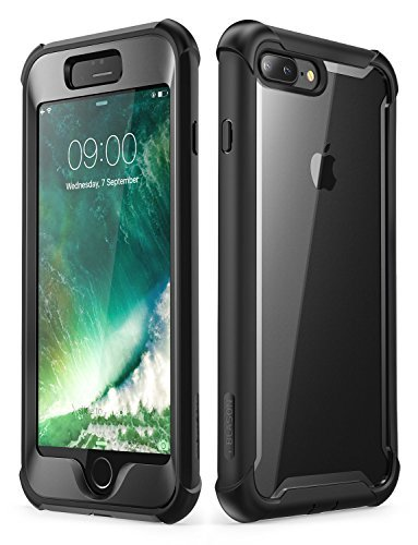 i-Blason Case for iPhone 8 Plus/iPhone 7 Plus, [Ares] Full-Body Rugged Clear Bumper Case with Built-in Screen Protector (Black)