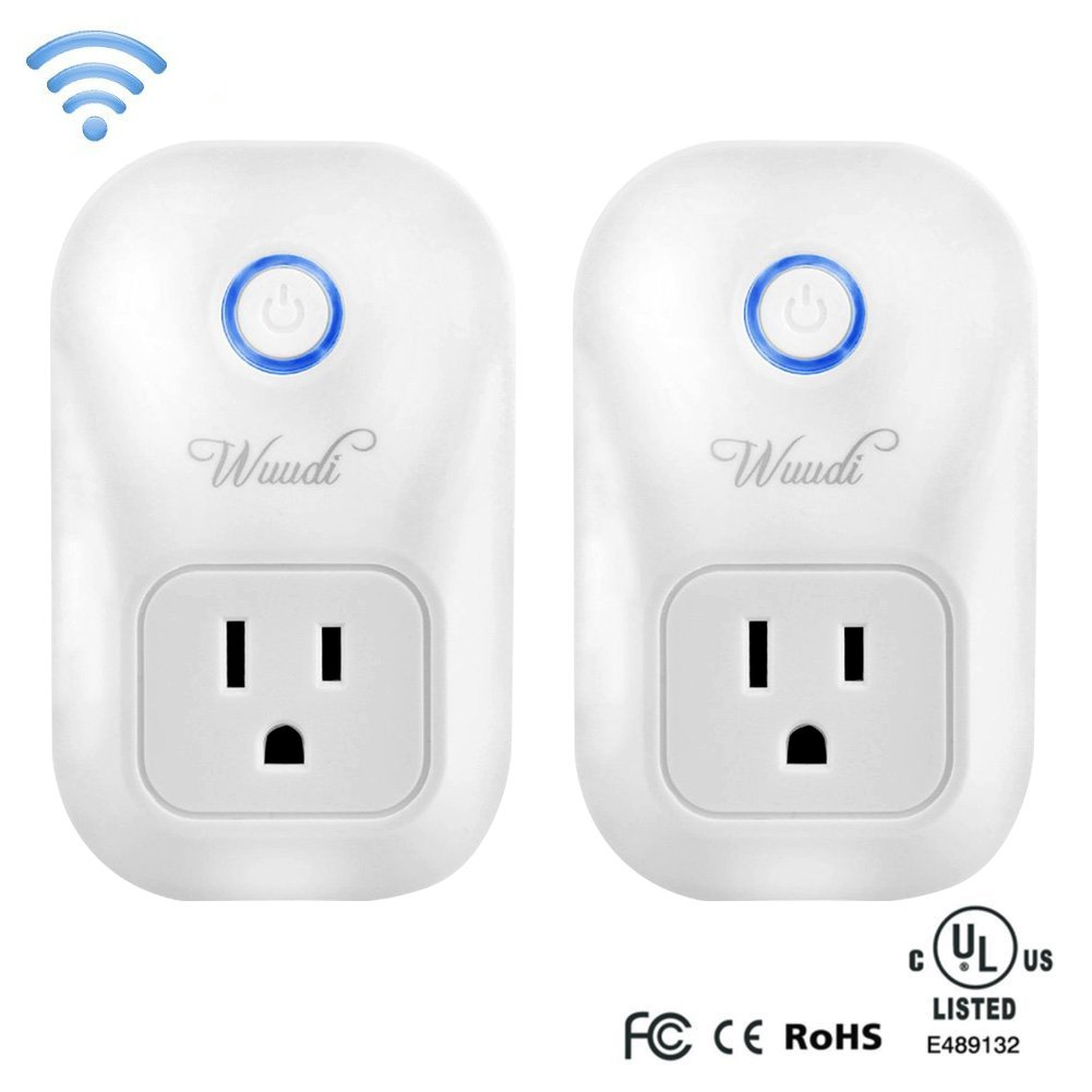 Wifi Smart Plug Wuudi Wireless Outlet No Hub Required Smart Timing Socket, Wireless Remote Control Your Devices Work with Alexa (2 Packs)