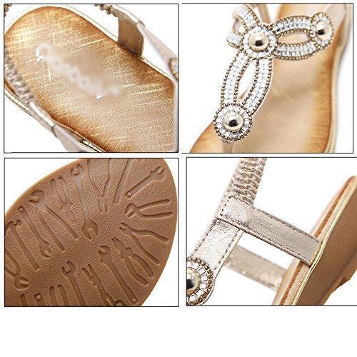 Bohème Plage Gold Sandales Flops Plates La LDZY à Strap Chaussures T Clip Flip Femmes Style Strass Voyage Bride Toe Cheville Casual ARaqZ