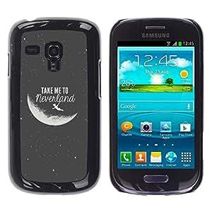 Qstar Arte & diseño plástico duro Fundas Cover Cubre Hard Case Cover para Samsung Galaxy S3 III MINI (NOT REGULAR!) / I8190 / I8190N ( Take Me To The Moon Grey Black Night Cosmos)