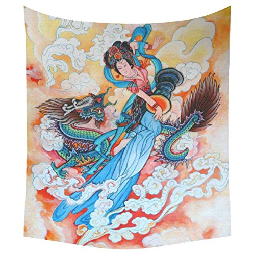 KRISTI MCCARTNEY Asian Culture Home Decor Tapestries Wall Art, Traditional Chinese Painting Goddess and Dragon Tapestry Wall Hanging Art Sets 51 X 60 Inches ()