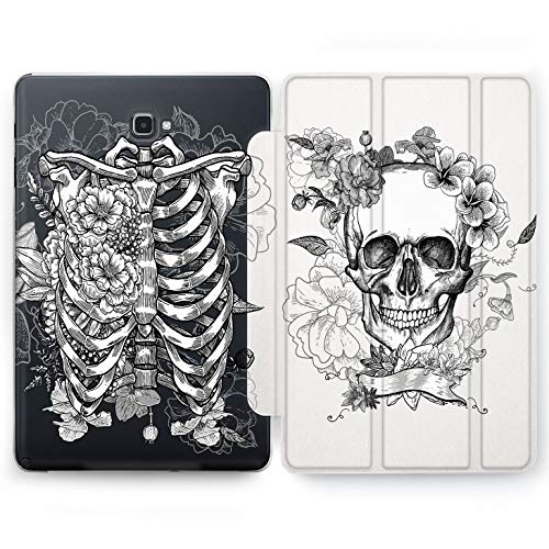 Wonder Wild White Skeleton Samsung Galaxy Tab S4 S2 S3 A E Smart Stand Case 2015 2016 2017 2018 Tablet Cover 8 9.6 9.7 10 10.1 10.5 Inch Clear Design Bones Anatomy Doctor Santa Muerte Scull Floral -