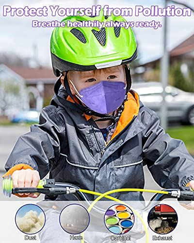 Kid Sized KN95 Face Mask, Colored Mask with Adjustable Nose Clip for Boys Girls, Individually Wrapped 5-Ply Protective Children Mask for Petite Face - 20 Packs