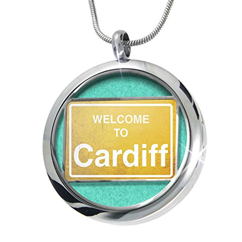Cardiff Pendant (NEONBLOND Yellow Road Sign Welcome To Cardiff Aromatherapy Essential Oil Diffuser Necklace Locket Pendant Jewelry Set)
