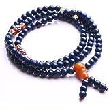 Qiyun 6mm 108 Bleu priere Mala perle de chapelet bouddhique Strand Collier Bracelet