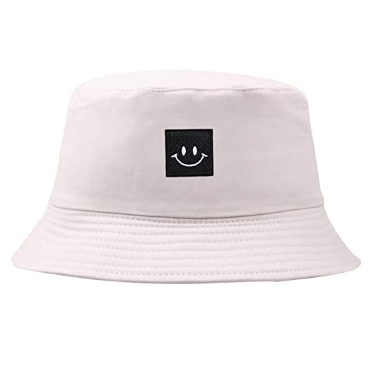 400b83e806b10 ink2055 Unisex Hat Smiley Face Patch Solid Color Folding Fisherman Hat  Outdoor Men Women Bucket Cap