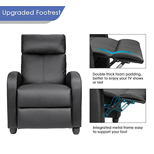 Homall Padded Seat Black PU Leather Living Recliner Home Theater