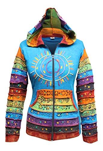 Righe Hippy Giacca Patchwork Multicolore A Blue Con Boho Arcobaleno Felpa Cappuccio Manica Lavaggio Acido qpWFgRvR8