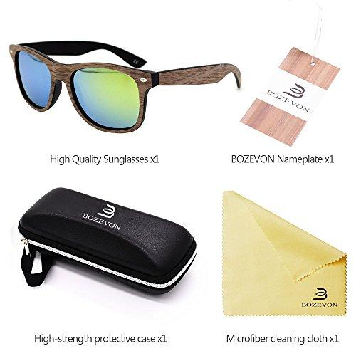 Chapa Negro del la de Gafas del UV400 de sol BOZEVON oro Manera Nogal Retro de marco Bambú Unisex aOnqS8