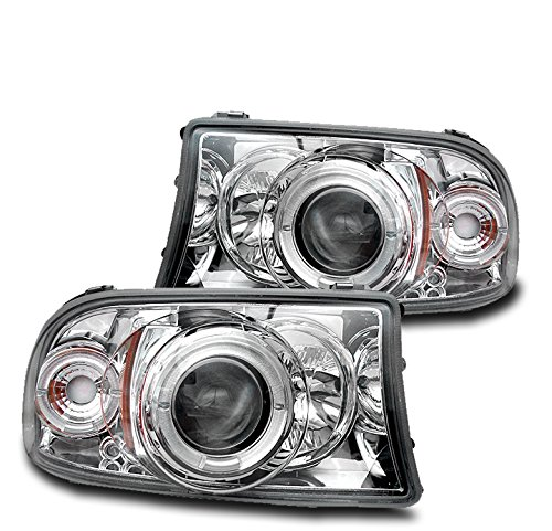 ZMAUTOPARTS DodgeDakota/ Durango Front Halo LED Projector Headlights Lamp Chrome