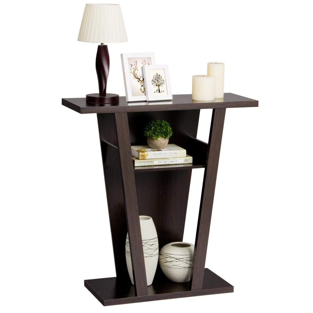 Yaheetech 3 Tiers Parlor Wood Shelf V-Shape Console Table Hallway Display Rack Espresso