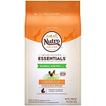 NUTRO WHOLESOME ESSENTIALS Hairball Control Adult Dry Cat Food Farm-Raised Chicken & Brown Rice Recipe, 3 lb. Bag