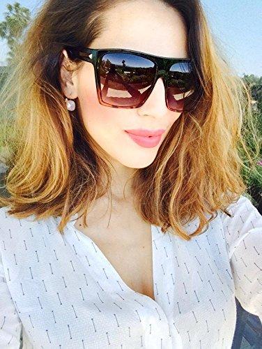 Black Ambre Havana Flat Top Huge Big Oversized XXL Square Women Sunglasses