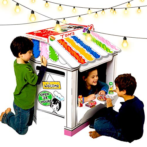 UC Global Trade Inc Shop Playhouse for Creative Coloring - Cardboard House for Kids and Additional Sticker Decorations