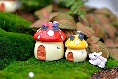 4PCS Resina Mini Casa de la Seta Miniatura Jard/ín Accesorios Colorido Paisaje Micro Hada del jard/ín MiniaturesCraft
