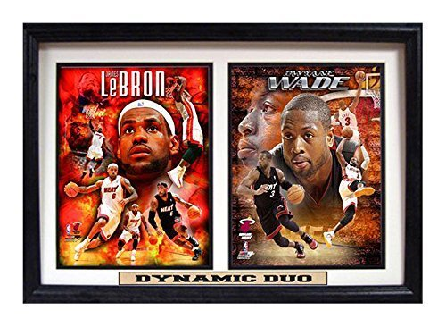 NBA Miami Heat 12x18 Double Frame Dynamic Duo Lebron James and Dwayne Wade Print by Encore