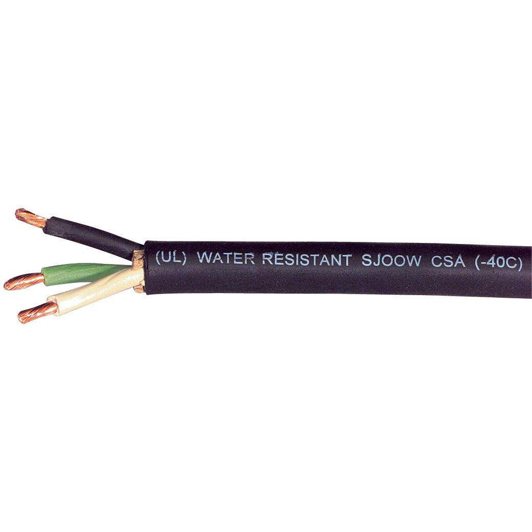 Carol 01380.15.01 SJOOW Portable Cord, Carolprene Jacketed Type SJOOW, 90 Degree C, 300V UL/CSA Portable Cord, 12/3 SJOOW, 250' SPL, Black