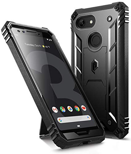 Google Pixel 3 Kickstand Rugged Case, Poetic Revolution [360 Degree Protection] Full-Body Rugged Heavy Duty Case with [Built-in-Screen Protector] for Google Pixel 3 Black