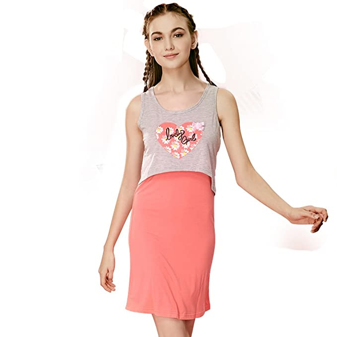 pijamas Adolescentes Divertidos Mangas/camisón/ camisón de algodón Ms Lindo Dos Sets B XL