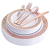 WDF 150PCS Rose Gold Plastic Plates with Disposable Plastic Silverware,Lace Design Plastic Tableware sets include 25 Dinner Plates,25 Salad Plates,25 Forks, 25 Knives, 25 Spoons/Bonus 25 Mini Forks