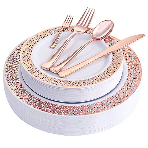 WDF 150PCS Rose Gold Plastic Plates with Disposable Plastic Silverware,Lace Design Plastic Tableware sets include 25 Dinner Plates,25 Salad Plates,25 Forks, 25 Knives, 25 Spoons/Bonus 25 Mini Forks -