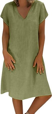 Vestidos Mujer Casual Verano 2019 Vestido de Mujer Estilo Femenino Camiseta de algodón Vestido Casual de Talla Grande para Mujer Camisa Vestido Sol Playa: Amazon.es: Hogar