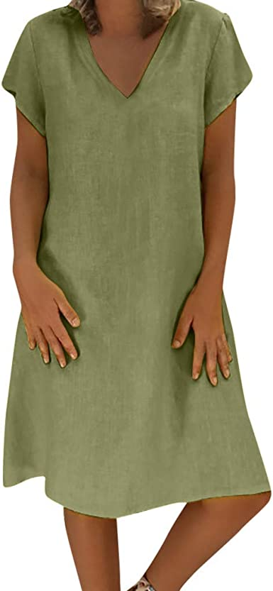 Las mujeres de Verano Estilo de Algodón y Lino Vestido Casual - Feminino Vestido V-Cuello de Manga Corta Sólido Más Tamaño Vestido, gris: Amazon.es: Ropa y accesorios