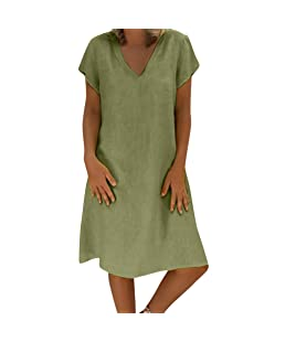 Women's Summer Feminino Vestido Short Sleeve Loose Solid Casual Dress Hevoiok V-Neck T-Shirt Cotton Day Night Party Plus Size Swing Dress Daily Plain Simple Ladies Midi Dresses S-5XL (Green, 5XL)